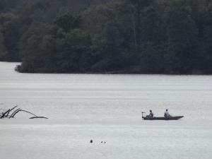 Anglers in a boat on Hunnewell Lake CA