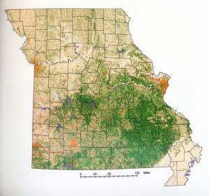 Map of Missouri showing land cover types as of 1998