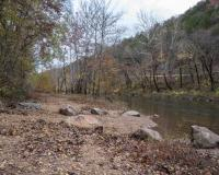 Photo of Bruns Access, gravel bar, and Maries River