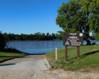 Photo of Chamois Fishing Access showing boat ramp and river beyond