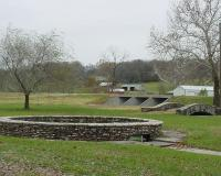 Stone-rimmed pool at hatchery