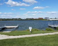 Fishing and boating docks at lake