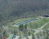 Aerial view of Montauk Fish Hatchery showing fish ponds