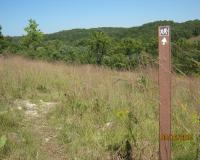 Hiking trail and marker in a glade at Victoria Glades CA