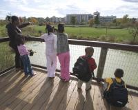A teacher and students on a wooden pier overlooking a pond on the Discover Center