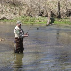 Trout angler fishing in a stream